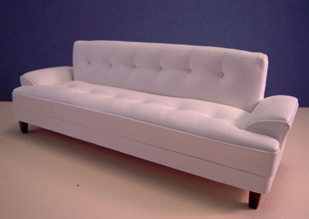 Miniature Platinum Collection Hoover White Modern Leather Sofa 1:12