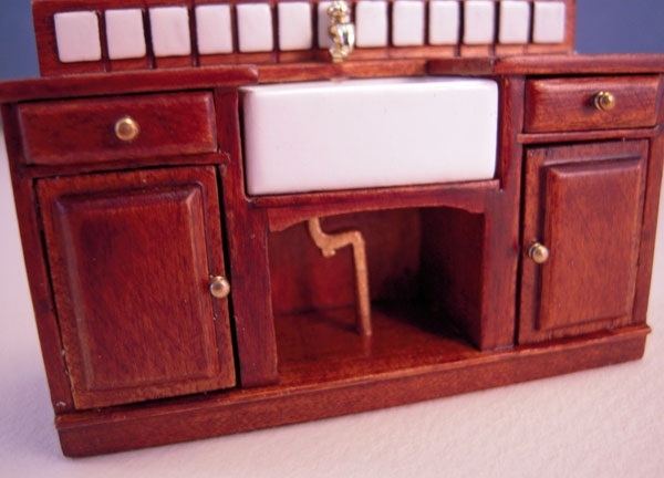 Sink Pipe Mountain Miniatures Three Piece Walnut Kitchen Set 1:24 scale