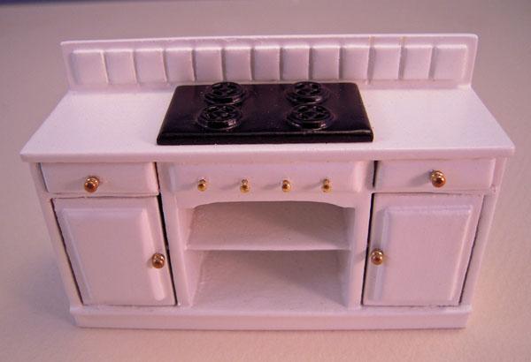 Stove Mountain Miniatures White Three Piece Kitchen Set 1:24 scale
