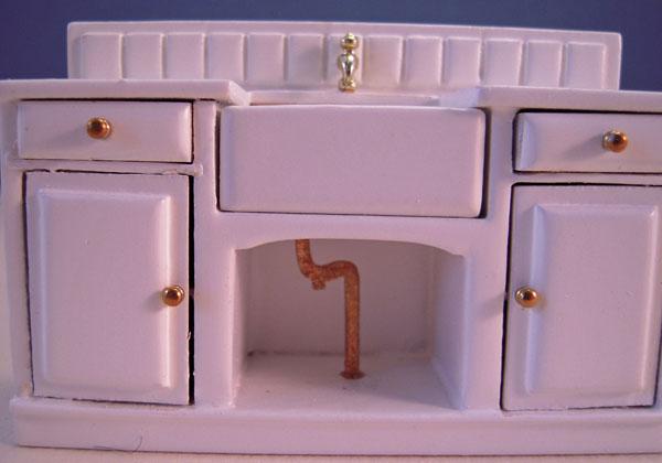 Sink Pipe Mountain Miniatures White Three Piece Kitchen Set 1:24 scale