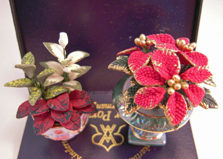 Reutter Porcelain Poinsettia and Lilly Arrangements 1:12 Scale