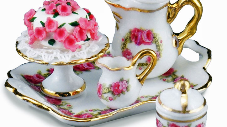 Reutter Porcelain English Rose Coffee Set with Cake