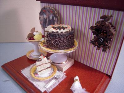 """1"""" Scale Miniature Reutter Porcelain Black Forest Cake Vignette"""