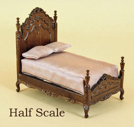 """1/2"""" scale miniature Bespaq walnut Liliana Chantal Bed"""