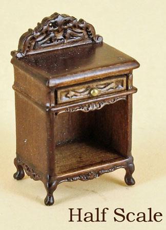 """1/2"""" scale miniature Bespaq walnut Liliana night stand"""