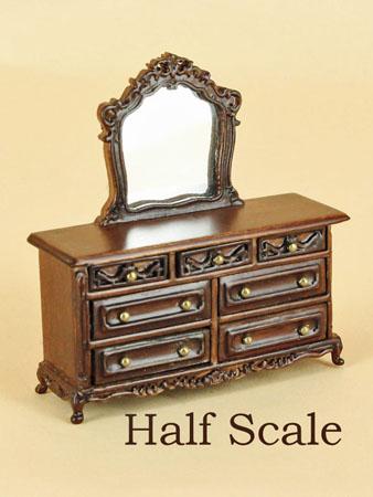 """1/2"""" scale miniature Bespaq walnut Liliana dresser"""