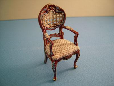 "Bespaq 1/2"" scale hand painted walnut Portia game chair, beige"