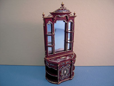 """1/2"""" scale miniature Bespaq hand painted mahogany collector's case"""