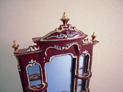 """Bespaq 1/2"""" scale miniature hand painted mahogany collector's case"""