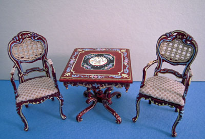 """Bespaq 1/2"""" scale hand painted mahogany portia game table"""