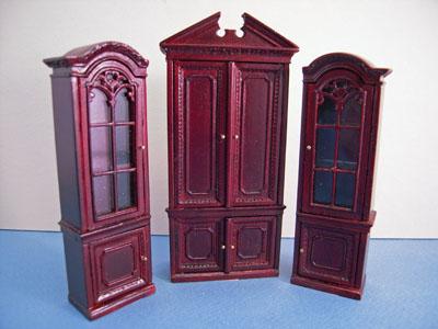 "Bespaq 1/2"" scale miniature three piece mahogany gallery bookcase set"