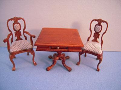 "1/2"" scale miniature Bespaq walnut Carrington Game Table"