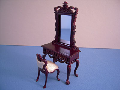 """1/2"""" scale miniature Bespaq Fantasy Lyre Vanity and Stool"""