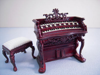"bespaq 1/2"" scale fantasy lyre organ and stool"