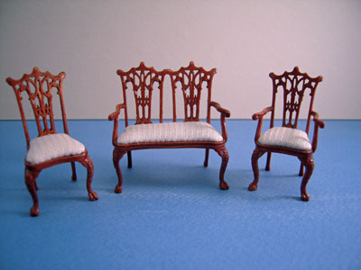 "Bespaq 1/2"" scale miniature walnut Washington Parlor Set"
