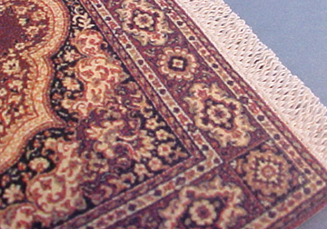 "1/2"" Scale Sienna Medallion Carpet Miniature by MbBay Miniatures  5 1/4""Lx 3 3/4""W with fringe."