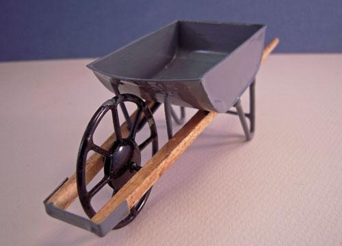 ESTATE SALE Gray Metal Wheel Barrow 1:12 scale
