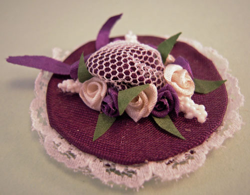 Estate Sale Levender Lace Hat 1:12 Scale