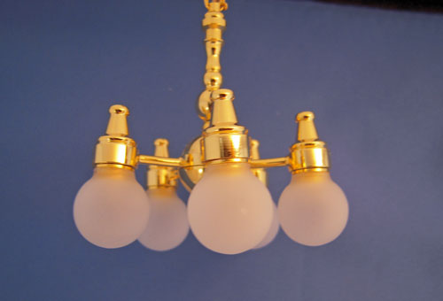 Battery operated Kips Bay Five Arm Chandelier 1:12 Scale