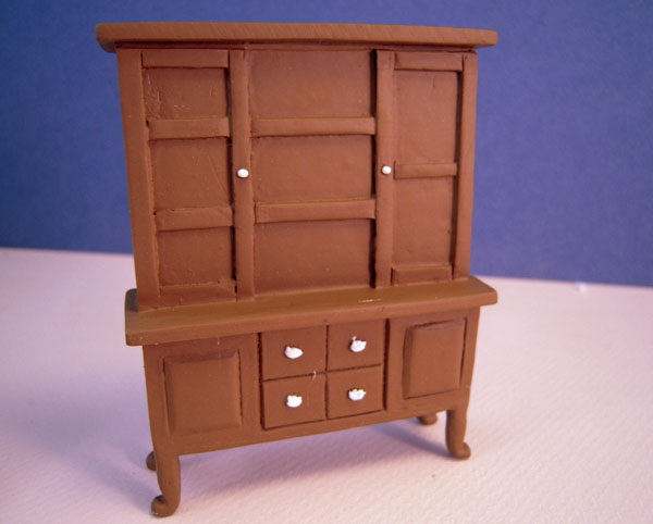 Six Piece Walnut Resin Dining Room Set 1:24 Scale Dollhouse Miniature