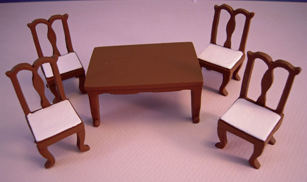 Walnut Resin Dining Room Set 1:24 Scale Dollhouse Miniature