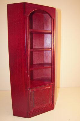 """1"""" scale Townsquare Miniatures mahogany corner bookcase"""