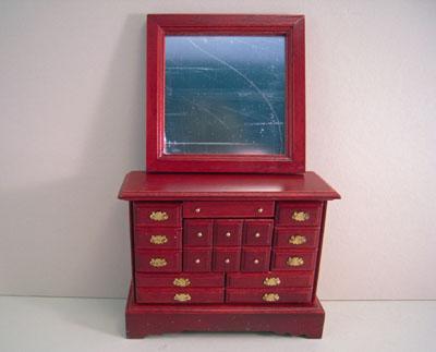 "1"" scale Townsquare mahogany four piece bedroom dresser"