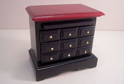 """1"""" scale Townsquare mahogany four piece bedroom black night stand"""