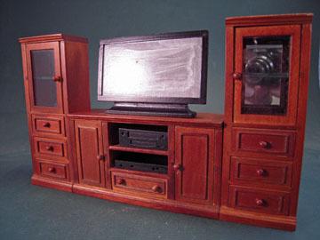 "t6683 1"" scale walnut entertainment center"