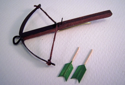 Terry Harville Hand Crafted Miniature Medieval Cross Bow 1:12 Scale
