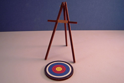 Miniature Hand Crafted Target and Easel 1:12 scale