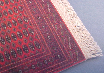 """1/2"""" Scale Tiny Red Graphic Carpet by McBay Miniatures  3 1/2""""Lx 2 1/8""""W with fringe"""