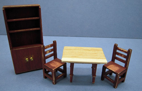 Taylor Jade Antique Red Four Piece Colonial Kitchen Set 1:24 scale