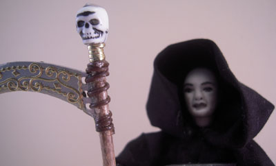 "1"" scale Jan Smith Grim Reaper porcelain doll"