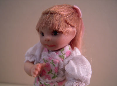"""1"""" scale Jan Smith toddler Clara with her baby carriage"""