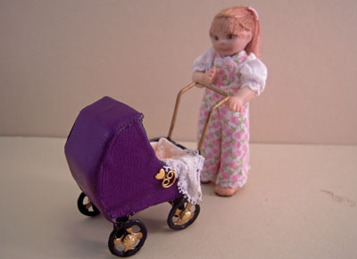 "1"" scale Jan Smith toddler Clara pushing her baby carriage"