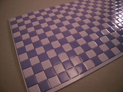"World Model 1/2"" scale faux blue checked wall or floor tile"