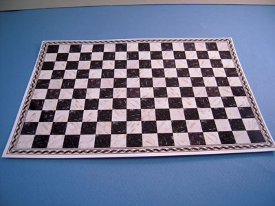"""1/2"""" scale miniature white and black checked faux marble tile sheet"""
