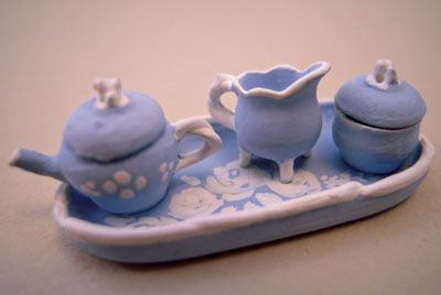 "Warwick 1/2"" scale miniature china blue tea set"