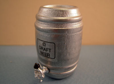 Miniature Silver Beer Keg 1:12 scale