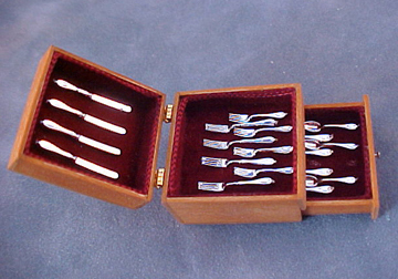 Wooden Chest with Silver Flatware 1:12 scale