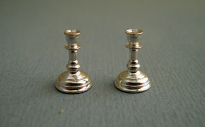 Clare Bell Brass Silver Candlesticks 1:24 scale