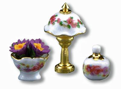 Reutter Porcelain Rose Table Lamp Set 1:24 scale