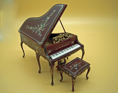 Bespaq Mahogany Hand Painted Madeline Rose Piano and Stool 1:12 scale