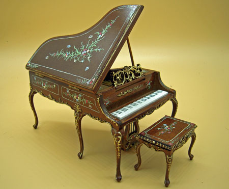 Bespaq Walnut Hand Painted Madeline Rose Piano and Stool 1:12 scale