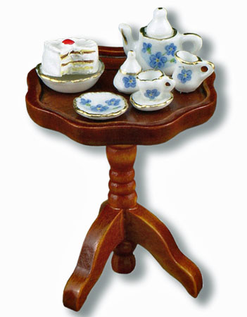 Reutter Porcelain Walnut Tea Table With Tea 1:12 scale