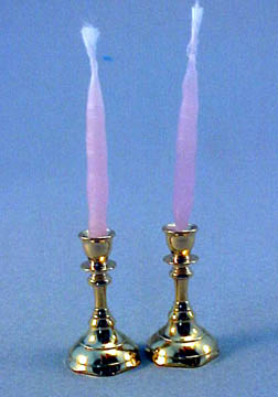 Clare Bell Brass Pair Of Brass Candlesticks With Candles 1:12 scale