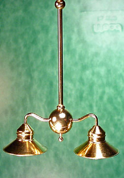 Brass Billiard Light with LED Bulbs 1:12 scale