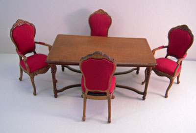 Bespaq Walnut Ruby Red Dining Room Set 1:12 scale