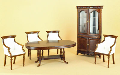 Bespaq Hilton Six Piece Walnut Dining Room Set 1:12 scale